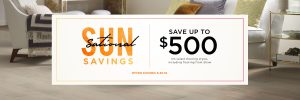Sun sational savings banner | Piedmont Floors